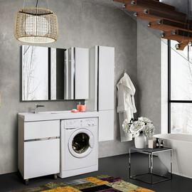 Тумба напольная Lotos 110, под стиральную машину, с двумя выдвижными ящиками + раковина правая/левая купить за 21900 руб.