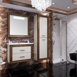 Мебель для ванной Opadiris Карат 80, цвет белый/золото купить за 54124 руб.