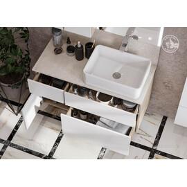 Тумба Aquaton Мишель 100 дуб эндгрейн, белый с раковиной Mila и столешницей из керамогранита купить за 30760 руб.