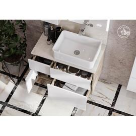 Тумба Aquaton Мишель 80  дуб эндгрейн, белый с раковиной Mila и столешницей из керамогранита купить за 28780 руб.
