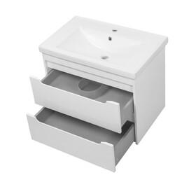 """Мебель для ванной Ceruttispa тумба Эмилия white 70 подвесная с умывальником """"Кантэ 70"""" купить за 22250 руб."""