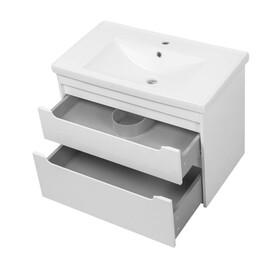 """Комплект для ванной Ceruttispa тумба Эмилия white 80 подвесная с умывальником """"Кантэ 80"""" купить за 23650 руб."""
